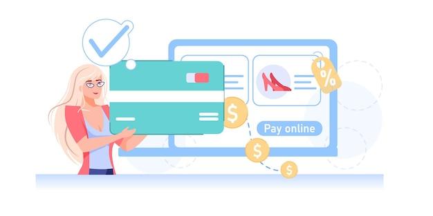 Красивая мультяшная плоская девушка переводит деньги онлайн с помощью мобильного приложения