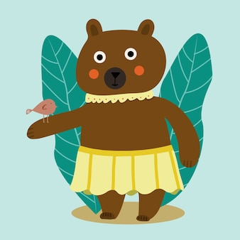 버드와 함께 화려한 만화 곰과 함께 아름 다운 만화 그림