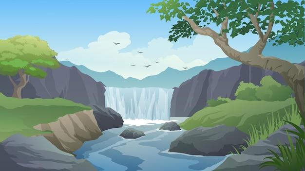 Красивый мультяшный пейзаж с ручьем и водопадом