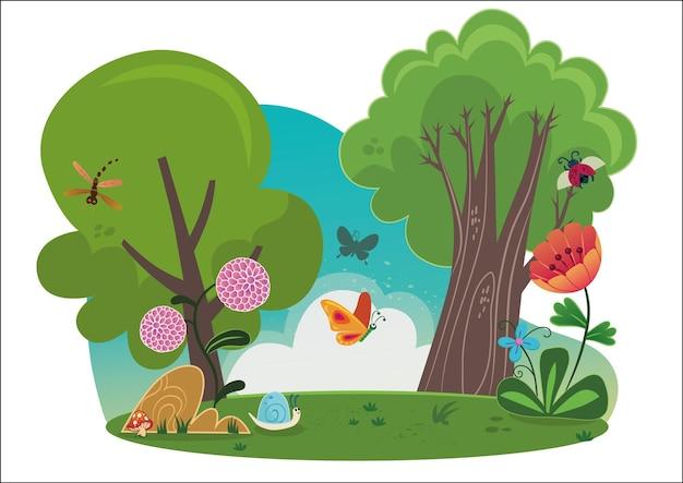 Beautiful cartoon nature scene vector illustration