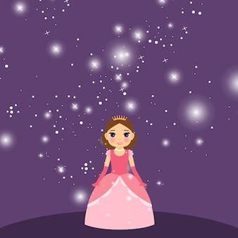 Beautiful cartoon princess on violet background