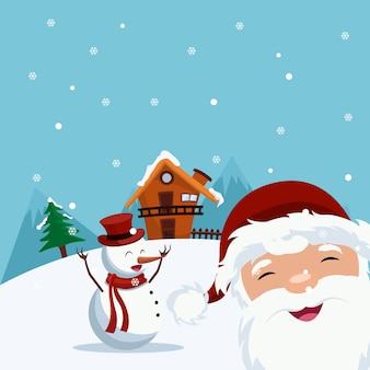 Beautiful cartoon santa claus card