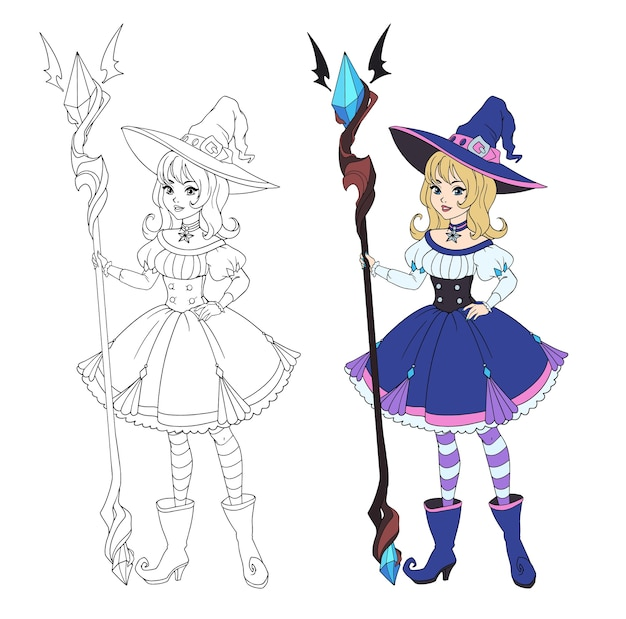 Beautiful cartoon witch holding big staff