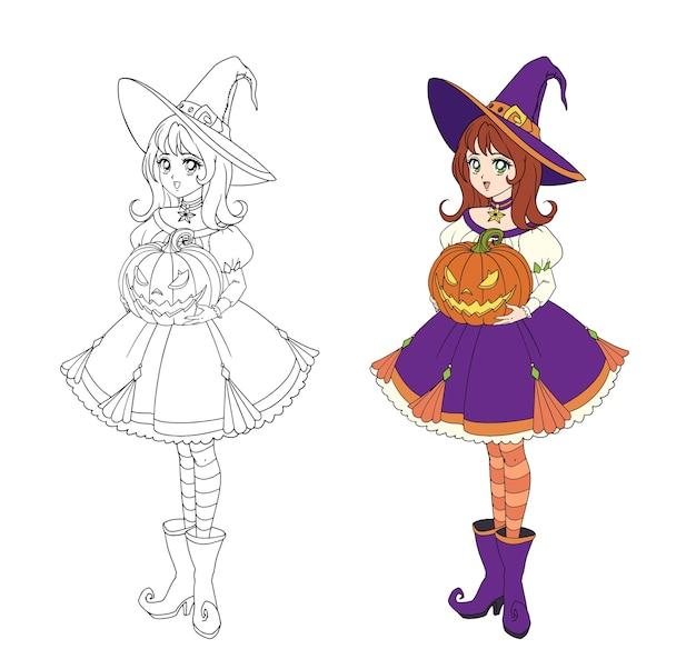 ハロウィーンのカボチャを保持している美しい漫画魔女。赤い髪、紫色のドレス、大きな帽子。塗り絵の手描きイラスト。白で隔離