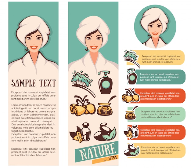 Beautiful cartoon woman and natural spa icons emblems and backgrounds collection