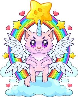 Красивая кошка единорог иллюстрация