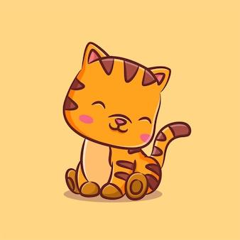 Красивая кошка с коричневым узором сидит