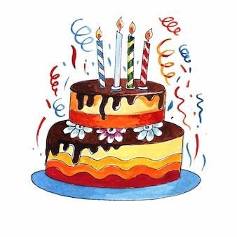 美しいお祝いのバースデーケーキのデザイン