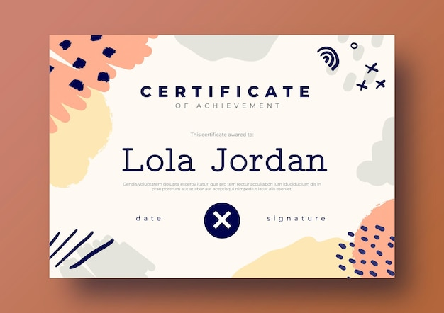 Beautiful certificate template in handdrawn style
