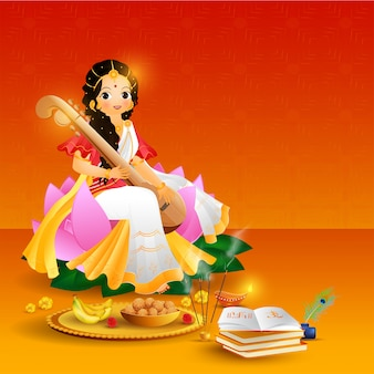 Beautiful character of goddess saraswati with illustration of re