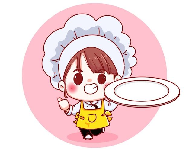 빈 접시 만화 그림을 들고 아름 다운 요리사 소녀