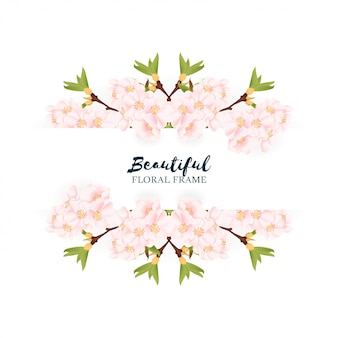 Beautiful cherry blossom floral border