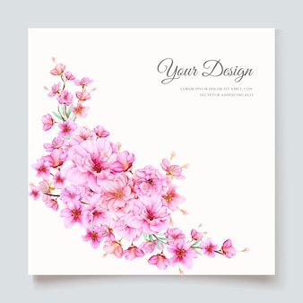 Beautiful cherry blossom invitation card template