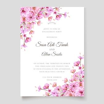 Beautiful cherry blossom invitation card template