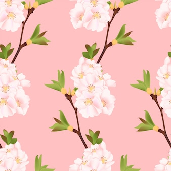 Beautiful cherry blossom seamless pattern