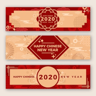 Beautiful chinese new year banners in flat design