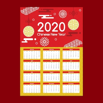 Beautiful chinese new year calendar in flat design