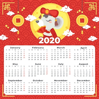 Красивый китайский новогодний календарь в плоском дизайне