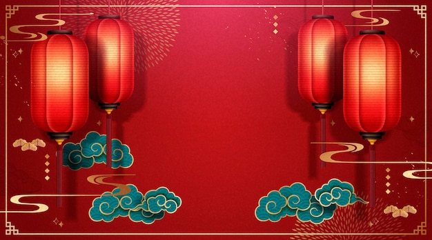 Beautiful chinese spring festival background with red lanterns and turquoise clouds