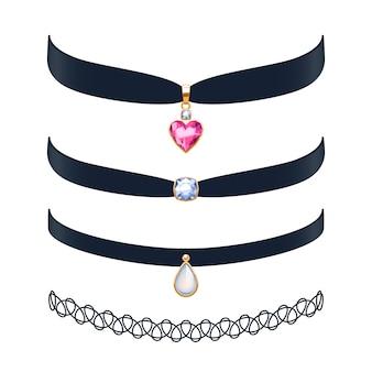 Красивые ожерелья колье набор иллюстрации. украшения с драгоценными камнями и золотыми подвесками. иллюстрация. подходит для ювелирного магазина красоты.