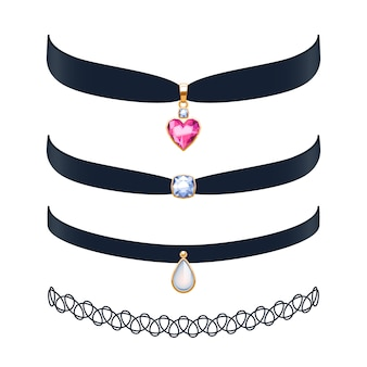 Beautiful choker necklaces set  illustration. jewelry with gemstone and gold pendants.  illustration. good for beauty fashion jewel shop .