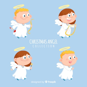 Beautiful christmas angel collection in flat design