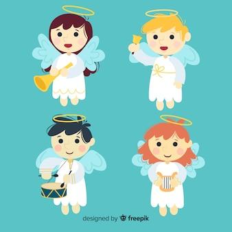 Красивая рождественская коллекция ангелов в плоском стиле