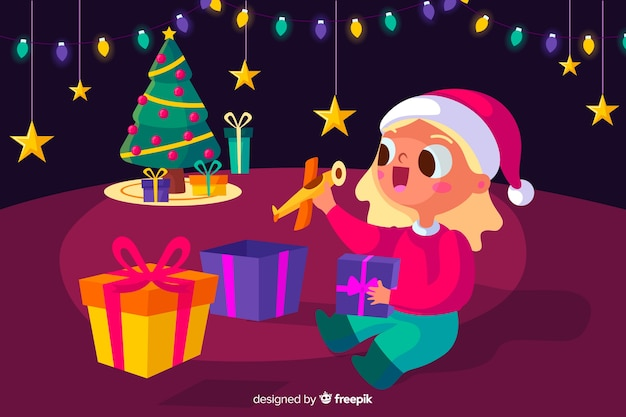 Beautiful christmas background in flat design