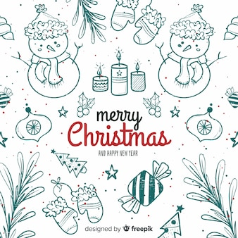 Beautiful christmas background in hand drawn style