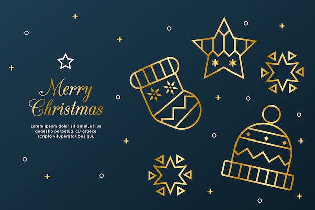 アウトラインスタイルの美しいクリスマスの背景