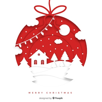 Beautiful christmas background in paper style