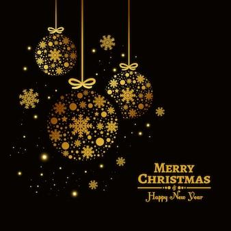 황금 공 아름 다운 크리스마스 배경입니다. 메리 크리스마