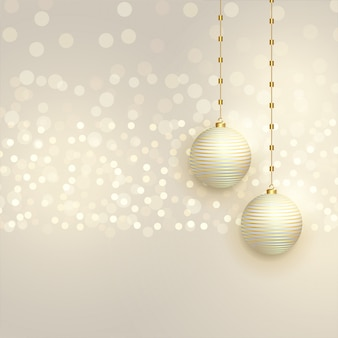 Beautiful christmas balls on bokeh background
