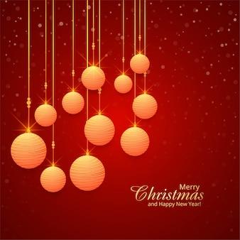赤い背景の美しいクリスマスボール