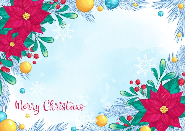 Beautiful christmas card background with red poinsettia and handwritten inscription