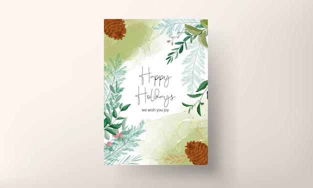Красивый шаблон рождественской открытки с красивым цветочным и золотым блеском