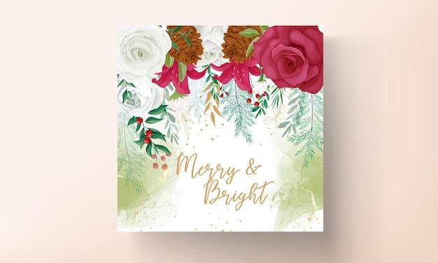 아름다운 꽃과 금색 반짝이가 있는 아름다운 크리스마스 카드 템플릿