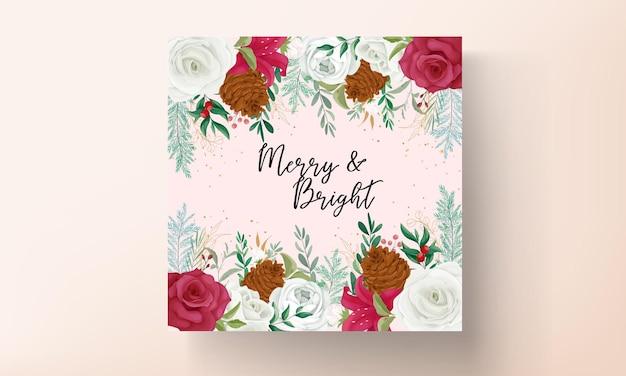 Bellissimo modello di biglietto di natale con bellissimi glitter floreali e dorati