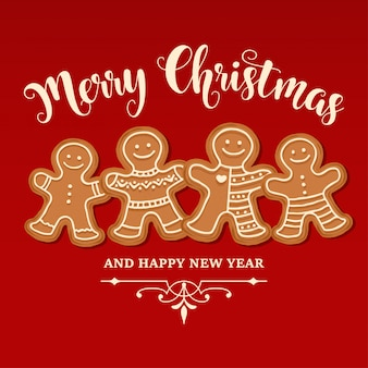 Beautiful christmas card with gingerbread family