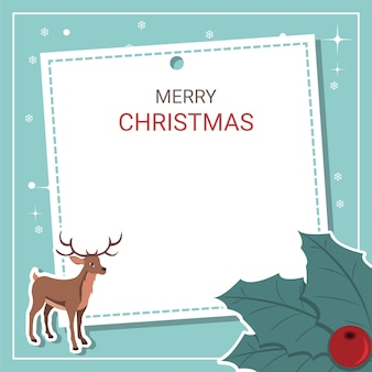 Beautiful christmas card with reindeer and holly leaves