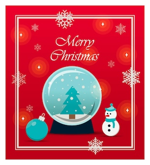 Beautiful christmas card with toys and gifts flat illustration for a website store or app