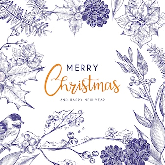 Beautiful Christmas Card with Vintage Flowers