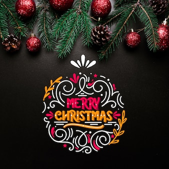 Beautiful christmas concept with lettering