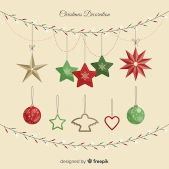 Beautiful christmas decoration with stars and baubles
