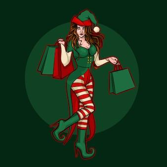 ギフトバッグを持つ美しいクリスマスのエルフの女の子