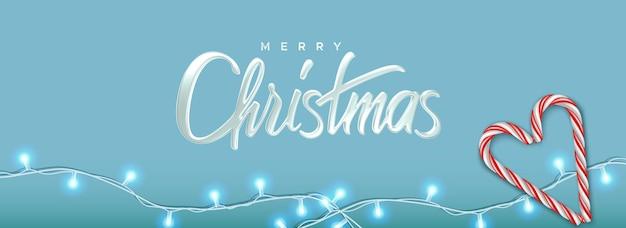 Красивый рождественский поздравительный баннер с блестящей гирляндой и конфетами иллюстрация для роскошного приветствия