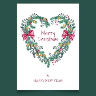 Beautiful christmas greeting card with bow in form of heart