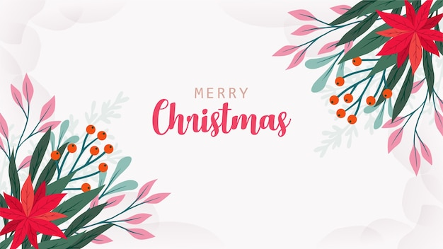 Beautiful christmas greeting card with hand drawn leaves