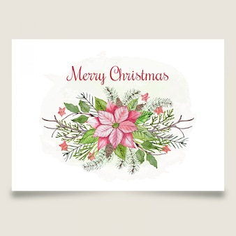 Beautiful christmas greeting card with pink flower and star