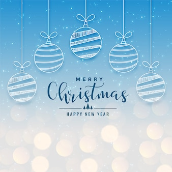 Beautiful christmas holiday bokeh background with hanging balls